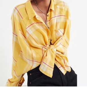 Oversized drapey flannel button-down shirt